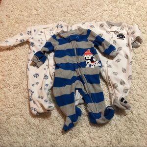 4/$25 Carter's Newborn Fleece Footie Pajamas